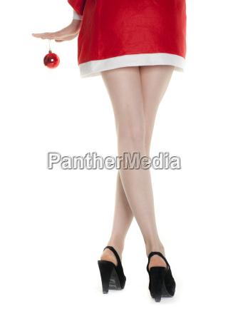 christmas woman with red christmas tree
