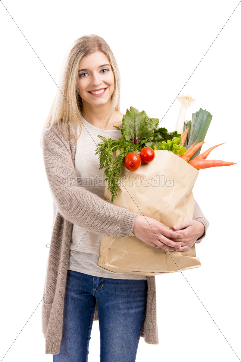 beautiful, woman, carrying, vegetables - 10260309