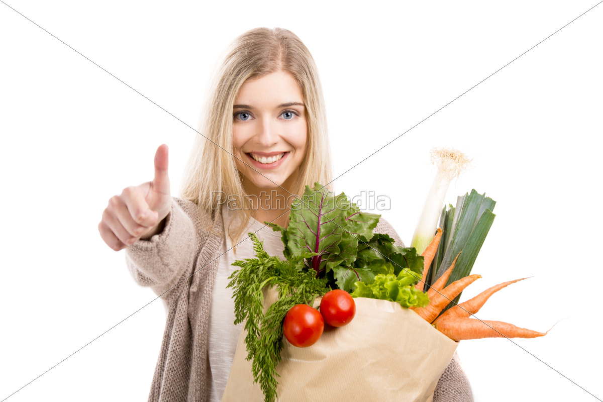 beautiful, woman, carrying, vegetables - 10260313
