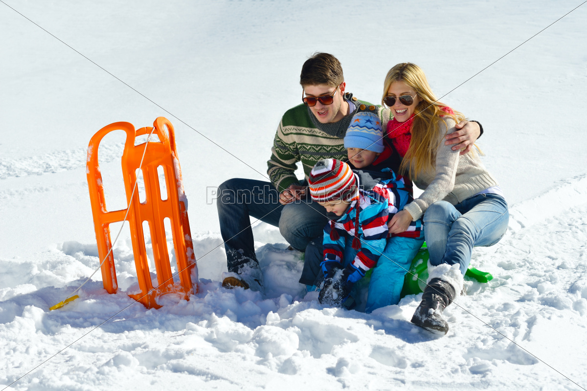 family, having, fun, on, fresh, snow - 10261011