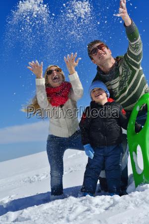 family, having, fun, on, fresh, snow - 10261037