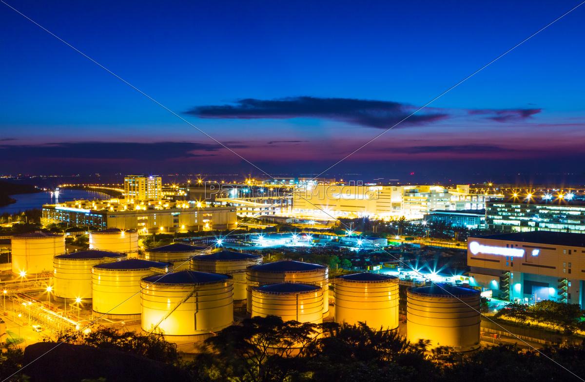 oil, tanks, plant, during, sunset - 10262979