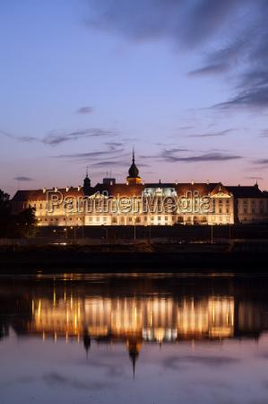 royal castle and vistula river at