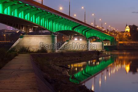 slasko dabrowski bridge at dusk in