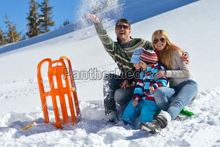 family, having, fun, on, fresh, snow - 10263839