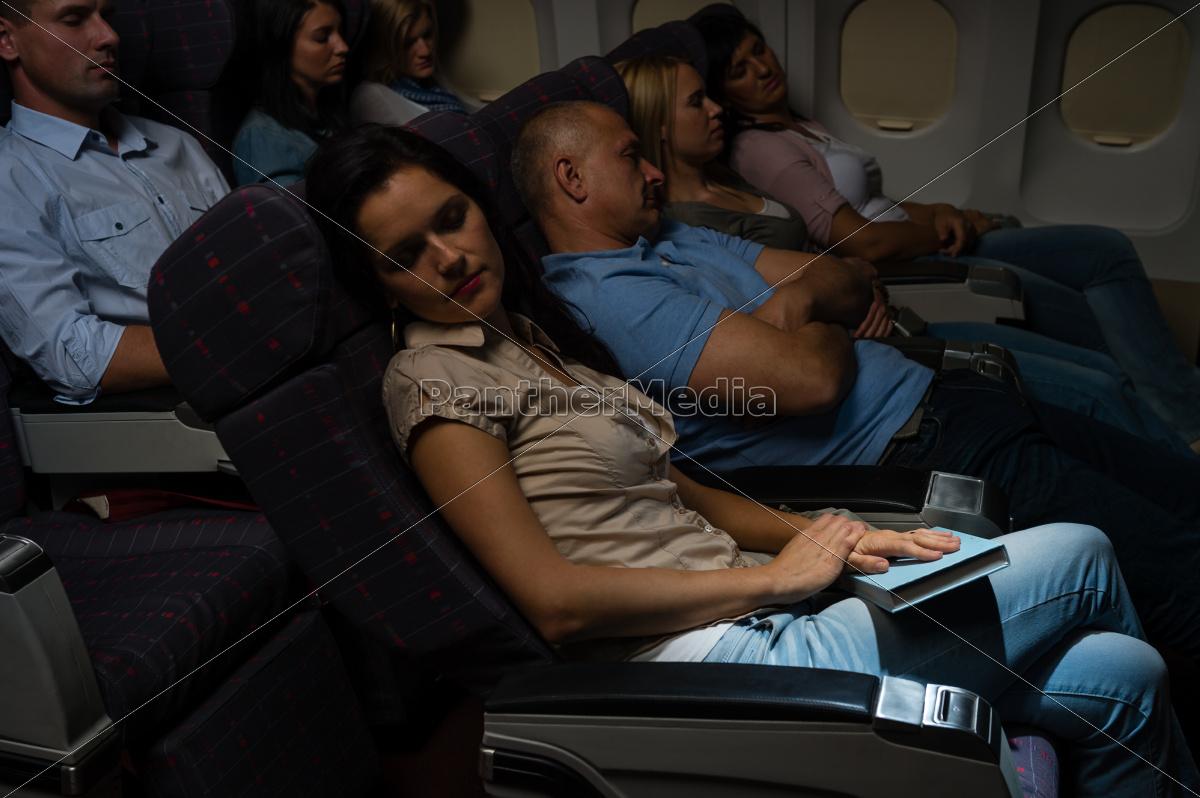 flight, passengers, sleep, plane, cabin, night - 10269349