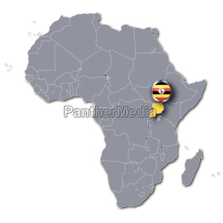africa map with uganda