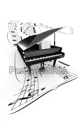 3d opened grand piano on a