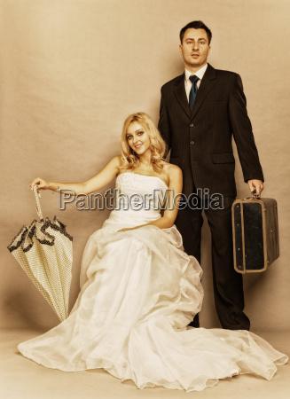 retro married couple bride groom vintage