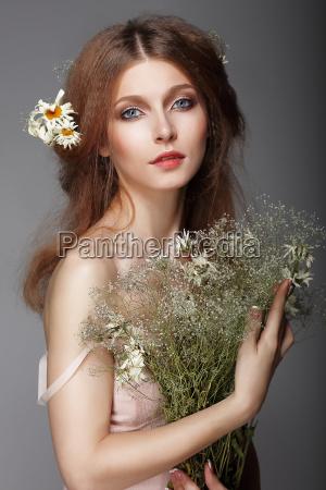 sentiment portrait of redhair nostalgic woman