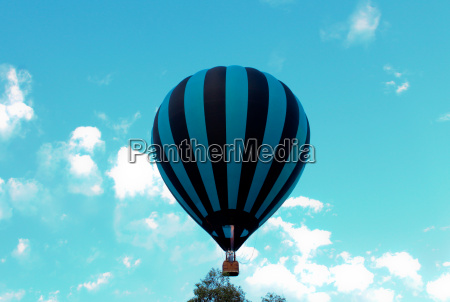 blue and black striped hot air