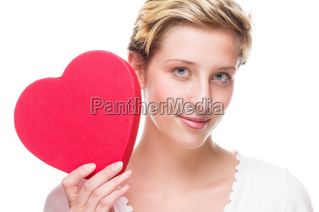 young, woman, with, red, heart - 10280987