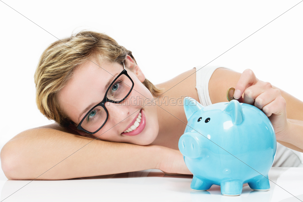 happy, woman, throwing, coin, piggy, bank - 10281103
