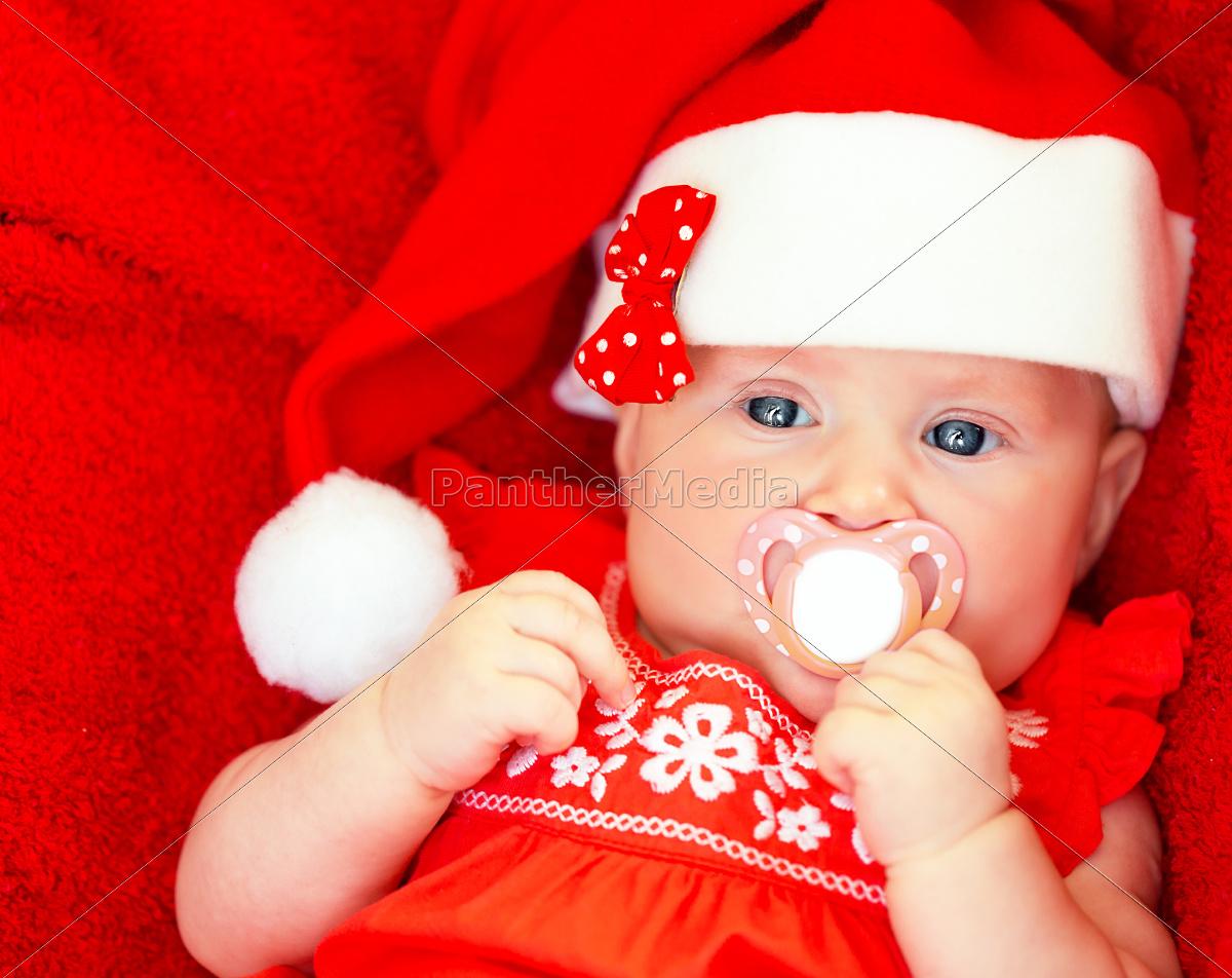 newborn, girl, wearing, santa, hat - 10282275