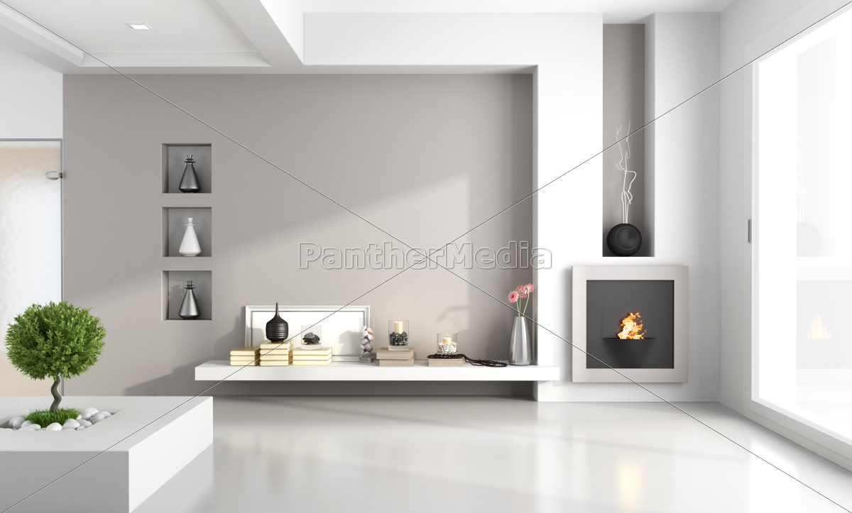 minimalist, living, room, with, fireplace - 10284203