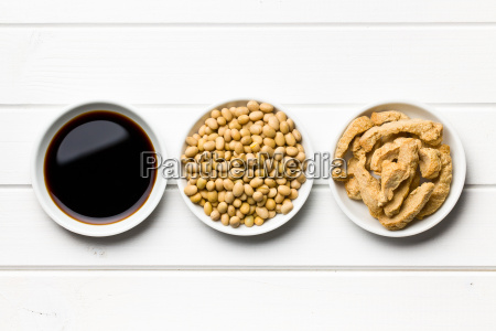 soy sauce soybeans and soy meat