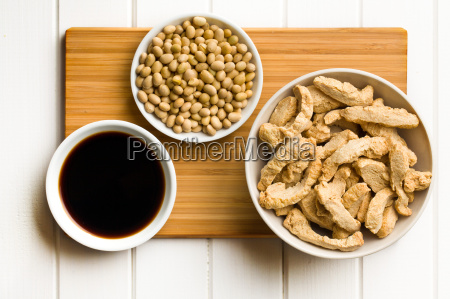 various soy products in bowls