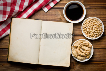 cookbook with various soy products