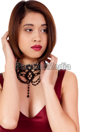 young beautiful asian woman with red