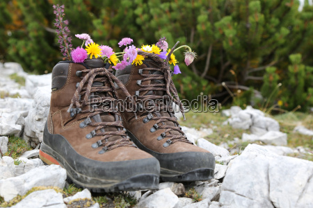 walking shoes with flowers in the