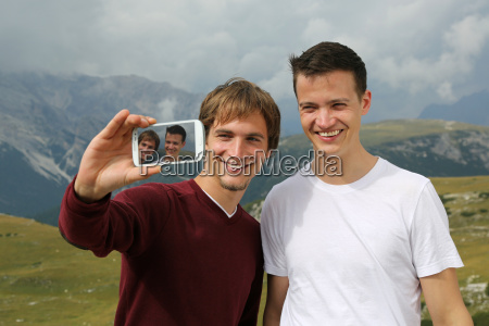 friends shoot a photo with the