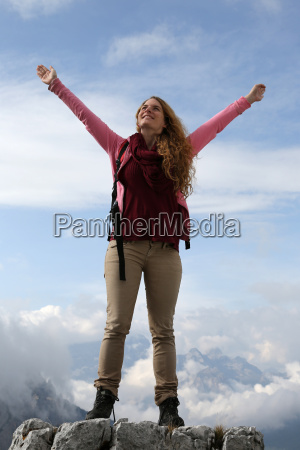successful mountaineer on a mountain peak