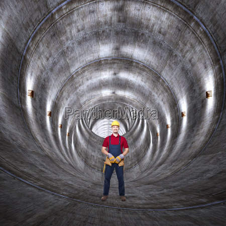 concrete tunnel and man