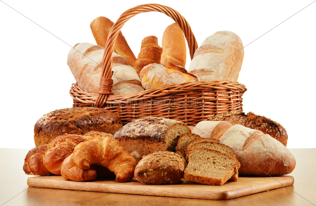 wicker, basket, with, baking, products, isolated - 10299701