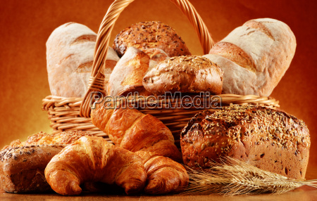 wicker, basket, with, bread, and, rolls - 10299689