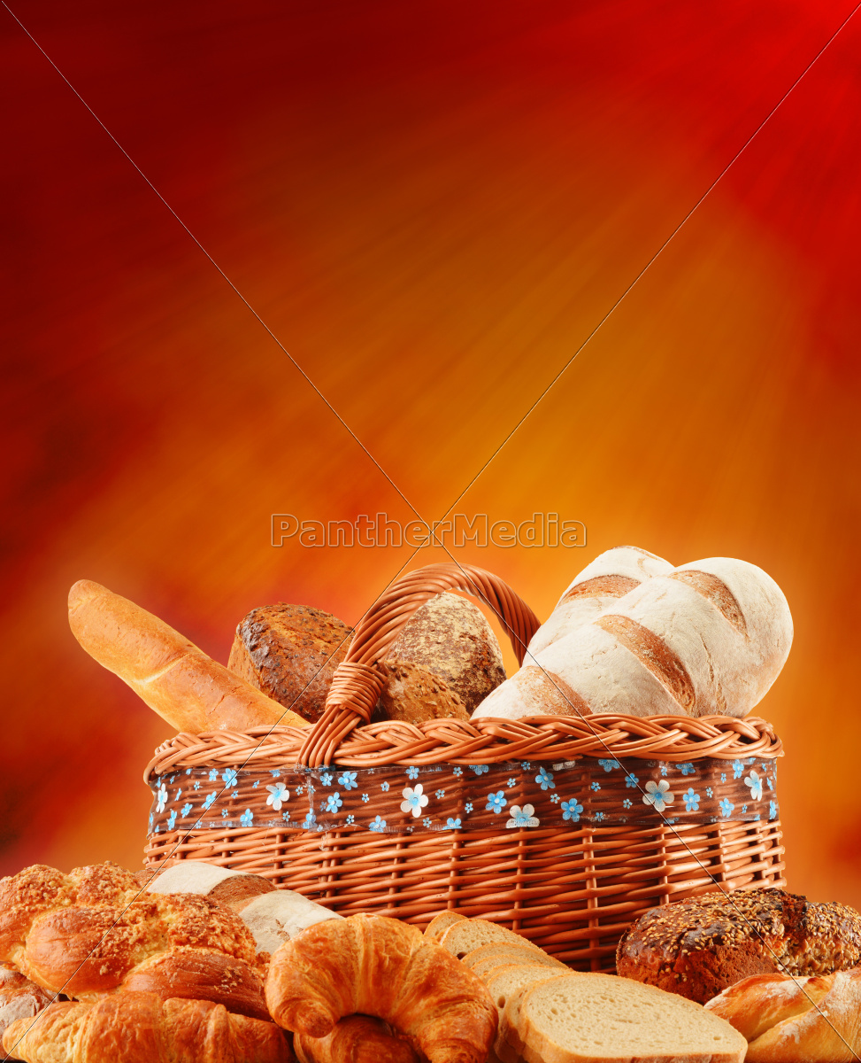 wicker, basket, with, variety, of, baking - 10299675