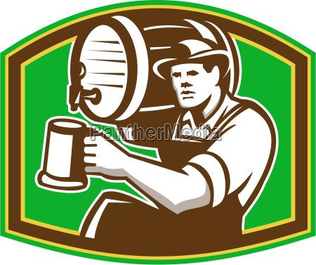 barman bartender pour beer barrel retro