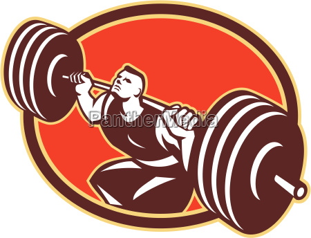 weightlifter lifting barbells cross fit retro