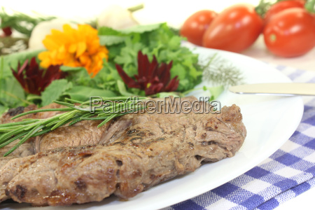 roasted entrecote with wild herb salad