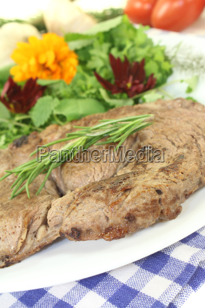 entrecote, with, wild, herbs, salad, and - 10305693