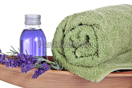 oil with lavender and towel