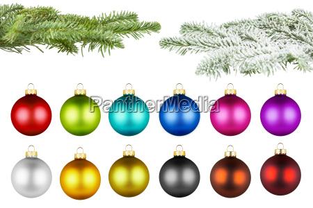 christmas balls and fir branch set