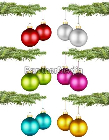 christmas balls on fir branch set