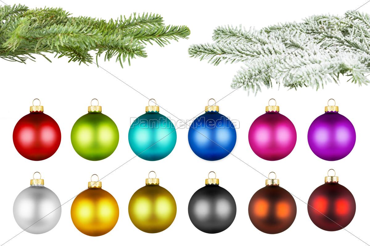 christmas, balls, and, fir, branch, set - 10309197