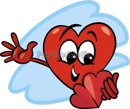 heart with valentine card cartoon
