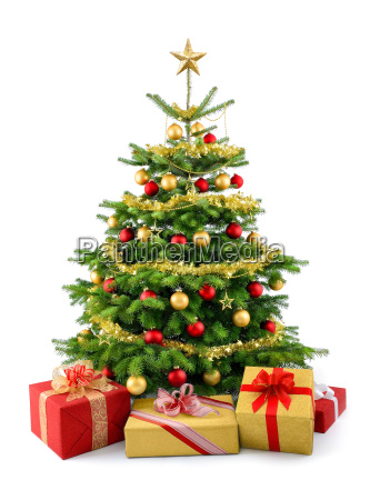 poet, christmas, tree, with, gifts, in, red - 10318077