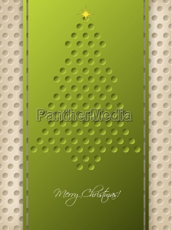 dotted christmas greeting with green ribbon