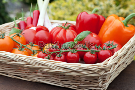 basket with tomatoes and peppers