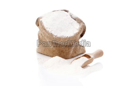 flour in burlap sack