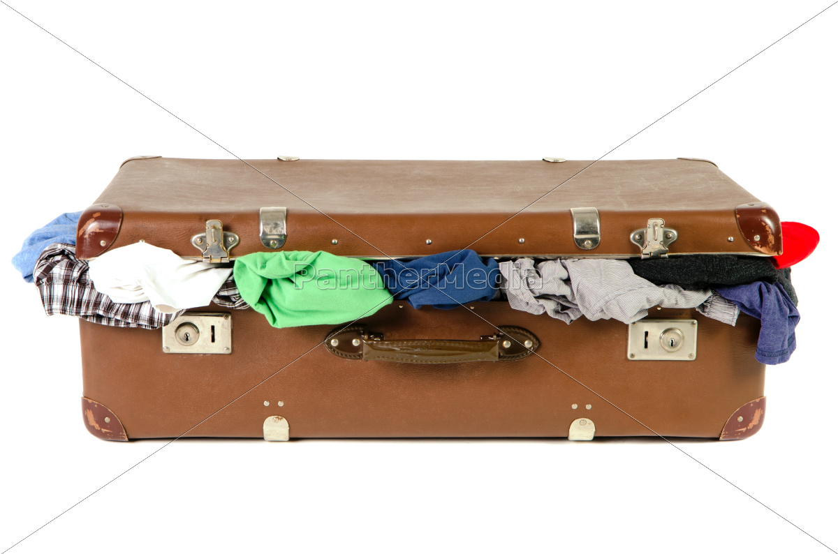 old, suitcase, full, of, clothes, in - 10346943