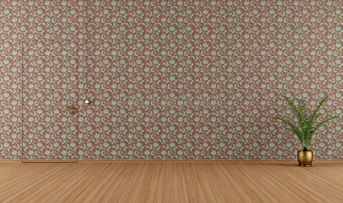 empty, room, with, vintage, wallpape - 10353825