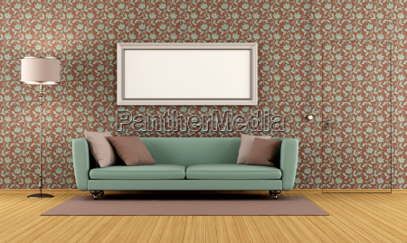 living, room, with, vintage, wallpaper - 10353821