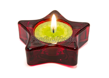 nice green candle inside a red