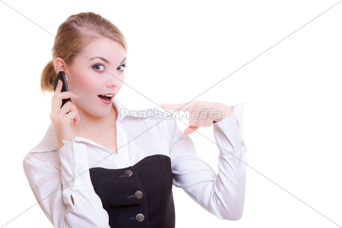 surprised, businesswoman, pointing, phone., business, communication. - 10358949