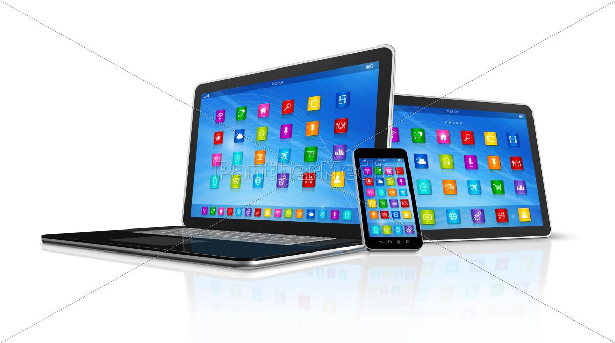 smartphone, , digital, tablet, computer, and, laptop - 10385617