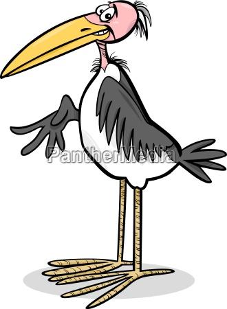 marabou bird cartoon illustration